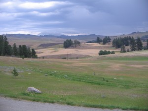 The view out the front door with thunder storm rolling across the valley.