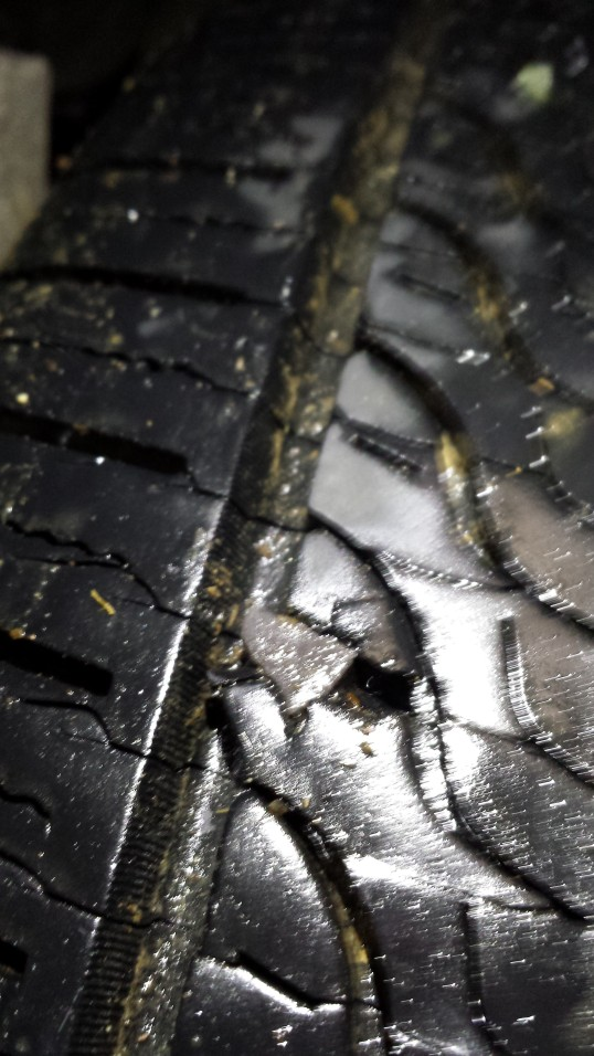 Tire punctured by rock
